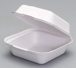 "Picture of item 967-939 a Compostable Large Hinged Sandwich Container.  5.9"" x 6.1"" x 3"", White Color.  50 Containers/Sleeve, 8 Sleeves/Case."