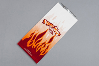 "Picture of item 209-251 a Foil-In Thermal Bag.  For Hot Foods.  6-1/2"" x 4-3/8"" x 14"".  1/2 Gallon Size.  Printed ""Superhot"" Design, in Red/Yellow Colors."