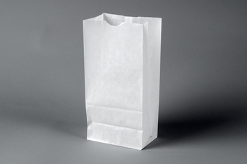 "Picture of item 300-101 a Bakery Bag.  Waxseal Automatic ""S.O.S."" Style.  6-1/4"" x 3-7/8"" x 12-5/8"".  8 lb. Capacity.  White Color."