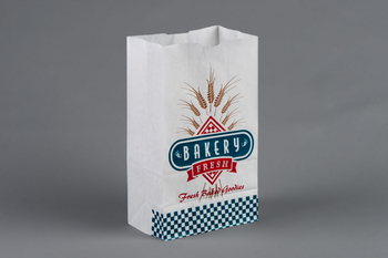 "Picture of item 300-105 a Bakery Bag.  Waxseal Automatic ""S.O.S."" Style  6-1/4"" x 3-7/8"" x 12-5/8"".  8 lb. Capacity.  White, Printed ""Bakery Fresh""."