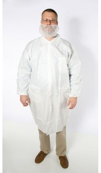 Picture of item 965-230 a Breathable Micro Film Lab Coat. Medium. Color White