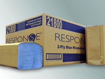 "Picture of item NPS-21800 a RESPONSE® SINGLE-FOLD BLUE WINDSHIELD TOWELS. Blue Color. 9.25"" x 10.25"". 168 Sheets.  Popular for use as a dairy towel.  Streak free cleaning."