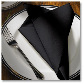 "Black FashnPoint® Flat Pack™ Dinner Napkins.  15-1/2"" x 15-1/2"", Ultra Ply, Flat Fold.  750/Case."