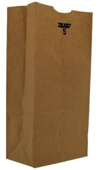 "Picture of item 310-303 a Grocery Bag.  Natural Kraft.  4 lb.  5"" x 3-1/3"" x 9-3/4"".  30# Basis Weight.  100% Recycled."