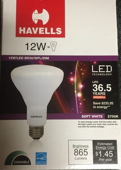 LED Light Bulb.  12 Watt.  BR30 Bulb.  Wide Flood.  Dimmible.