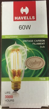 LED Light Bulb.  Vintage Edison-Style Incandescent Bulb. A19 Vintage Lamp. 60 Watt. E26 Brass Base.
