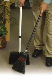 "Picture of item 518-402 a Dust Pan with  Broom.  12"" Mouth.  High Impact Lobby Dust Pan.  30"" Locking Handle."